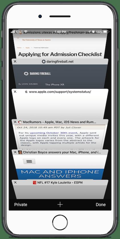 Screenshot: open tabs in Safari on an iPhone 8 Plus