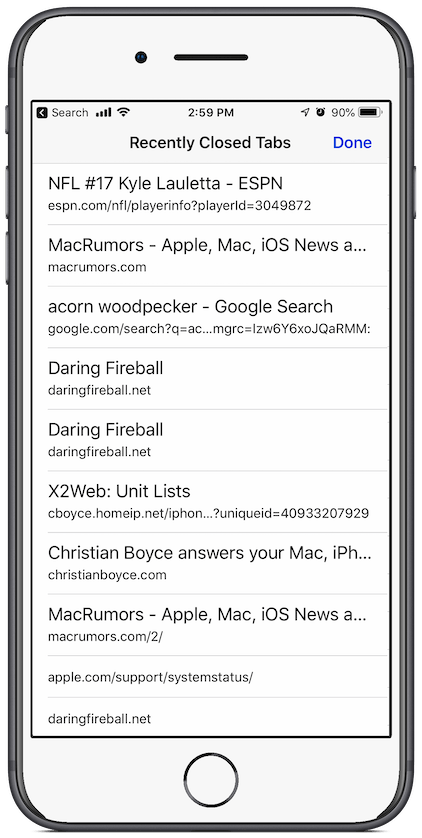 iOS Safari Recently Closed Tabs