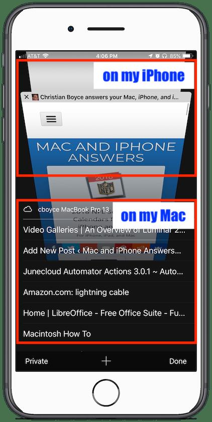 Safari Tabs on iPhone, with iCloud Tabs showing