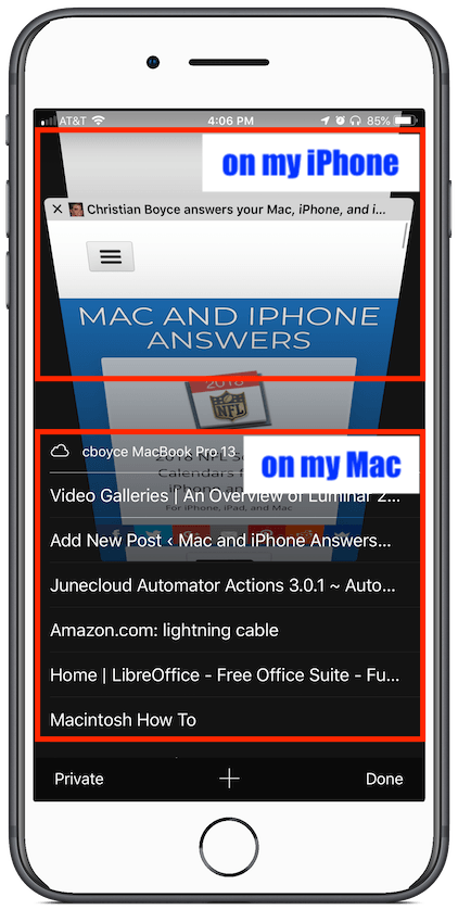 Safari Tabs on iPhone, with iCloud Tabs showing