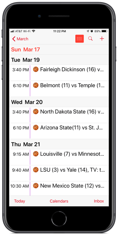 March Madness calendar on iPhone