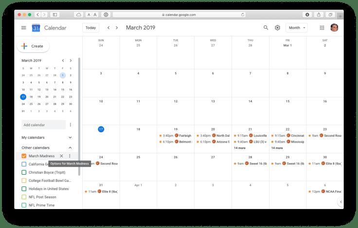 March Madness calendar in Google Calendar.