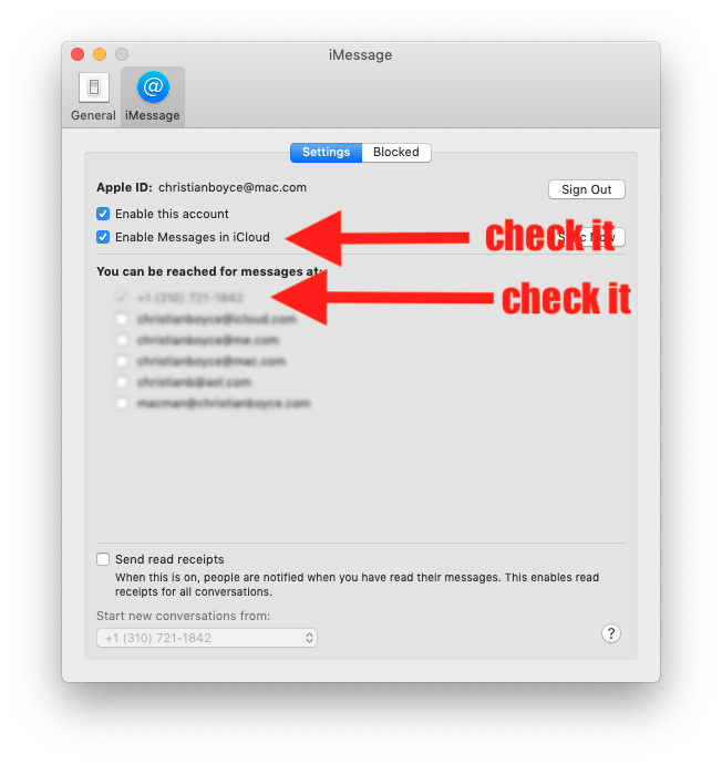 Messages Preferences, showing what to click. The top arrow points to the Messages in iCloud checkbox. The bottom arrow points to your phone number.