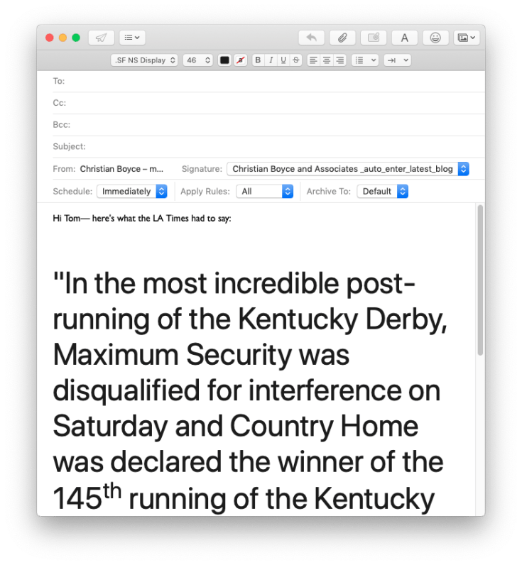 Pasting text from a web page into an email. Font is too big.