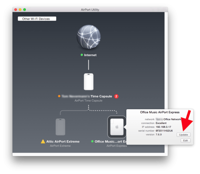 Airport Utility, updating Airport Express