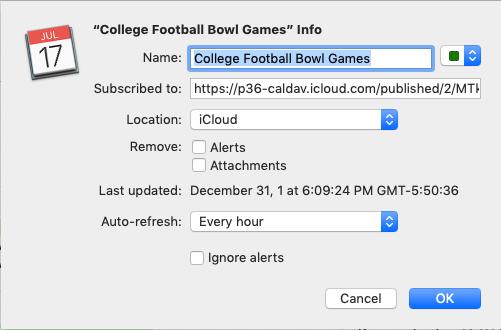 College Football Bowl Games calendar set-up (on macOS)