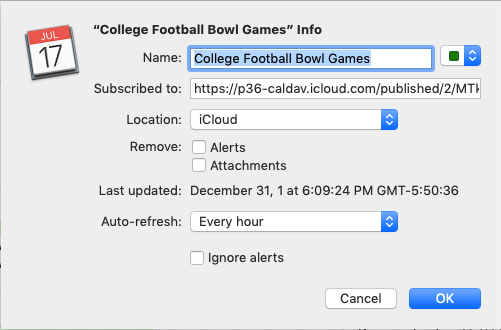College Football Bowl Games calendar set-up (on macOS)