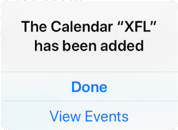 Step 2 of subscribing to the XFL calendar on iOS.