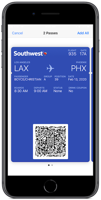 Southwest boarding pass, previewed in the Apple Wallet