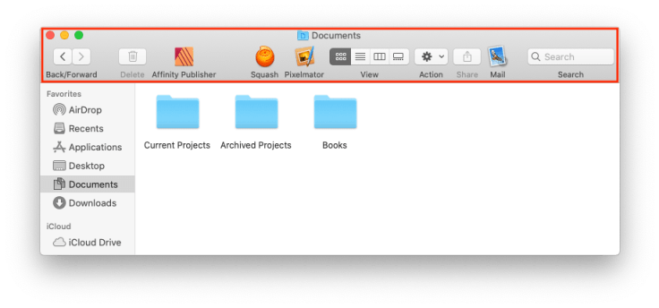 Finder window with customized toolbar