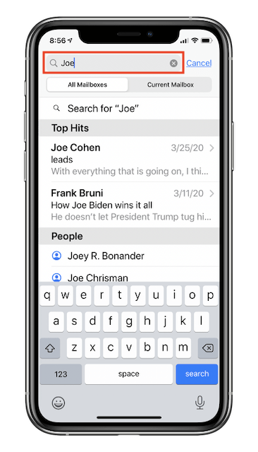 """iOS Mail list view, with Search results for the word """"Joe"""""""