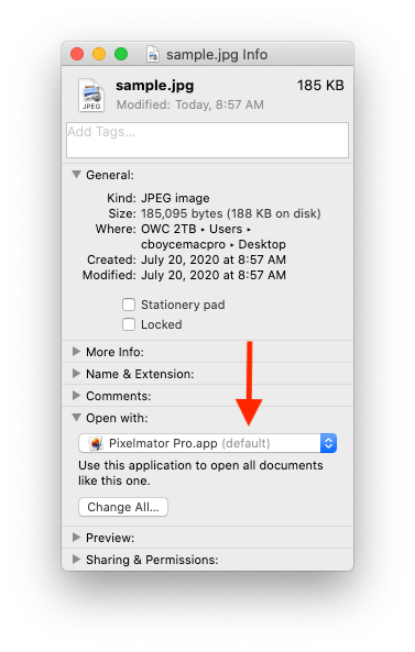 """After doing a """"Change All..."""" the default app for this type of file is changed."""