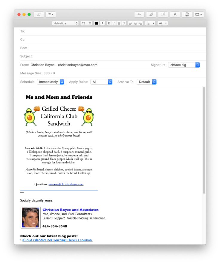 Mac Mail message with single-page PDF attached
