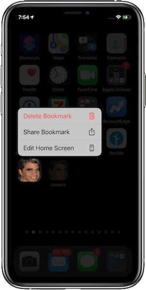 Deleting a bookmark (Shortcut) from the Home Screen in iOS 14