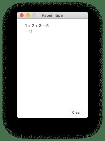 Calculator's Paper Tape window