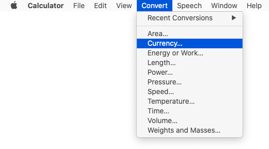 Mac Calculator's Convert menu