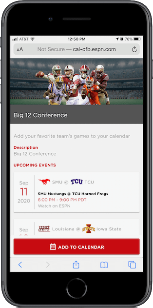 ESPN's Big 12 football conference calendar page on an iPhone