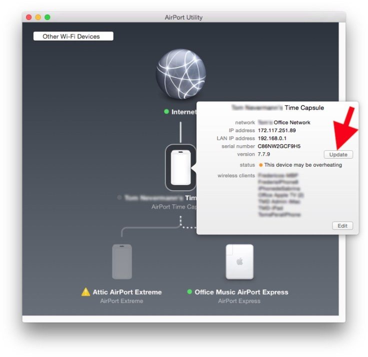 Airport Utility screenshot showing blinking yellow light (Apple calls it Amber) on Time Capsule