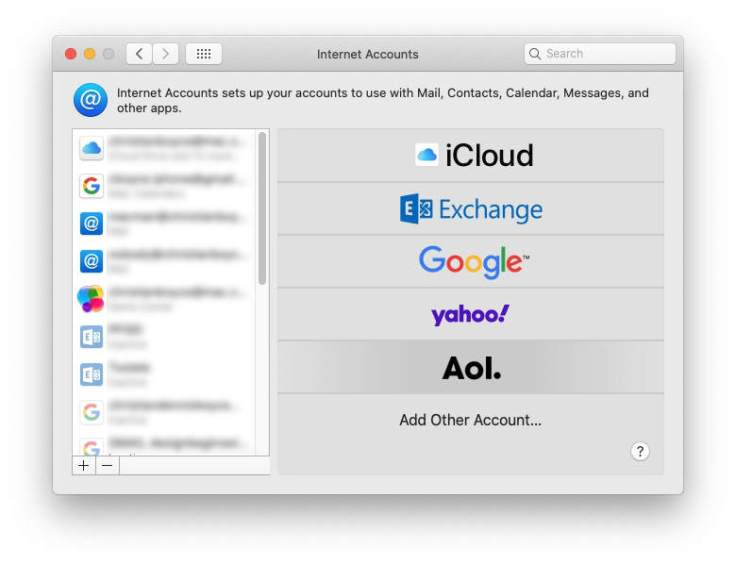 Adding an AOL account in Internet Accounts in System Preferences