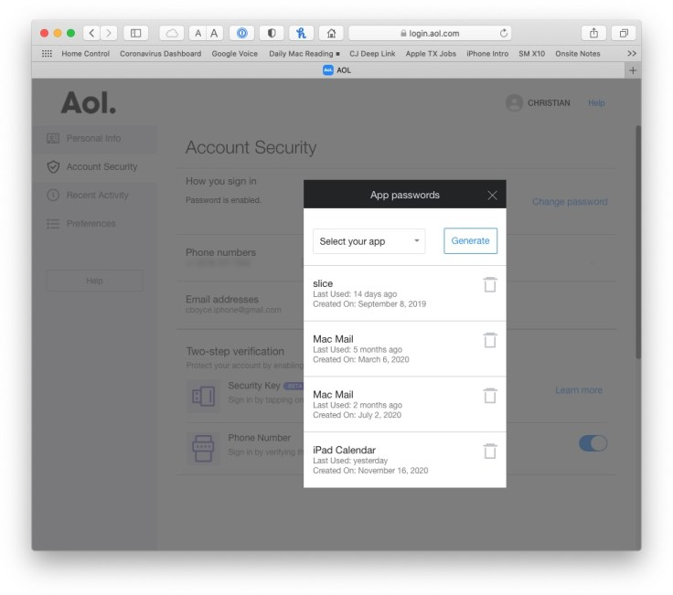 App password dialog in AOL Account Security page