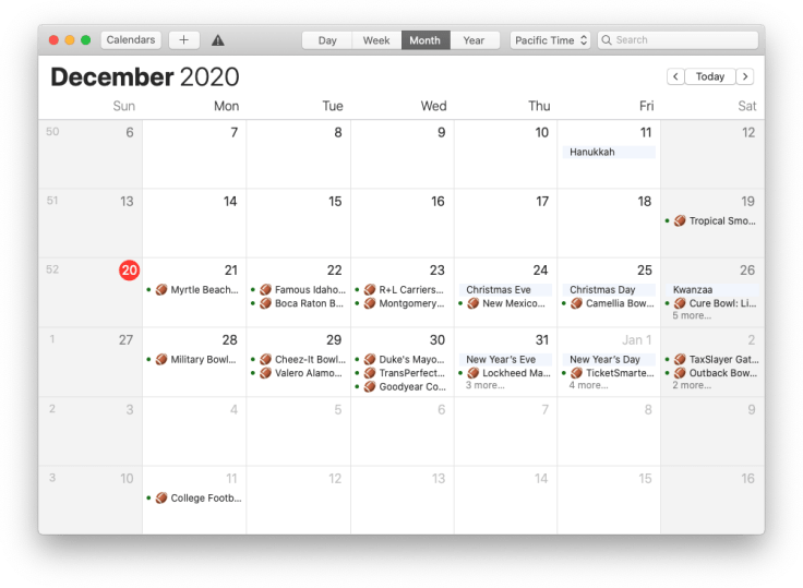 College Football Bowl Games calendar on macOS