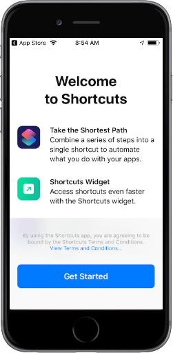 Welcome to Shortcuts opening screen