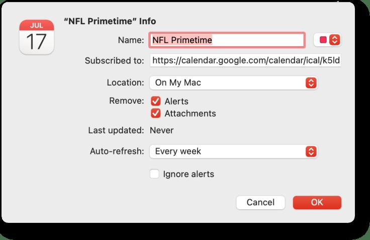 Adding the NFL Prime Time games to a Mac's calendar.