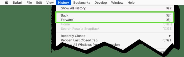 Keyboard shortcuts for Back and Forward in Safari