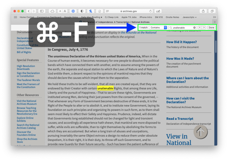 Searching within a web page in Safari