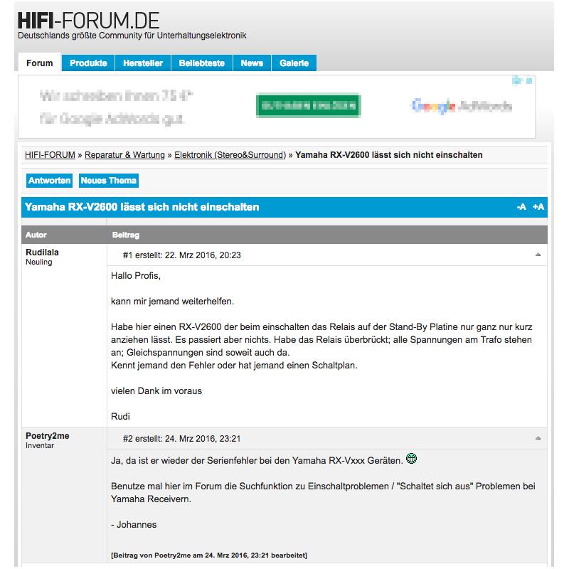 Internet-Forum www.hifi-forum - Geplante Obsoleszenz bei meinem Receiver?