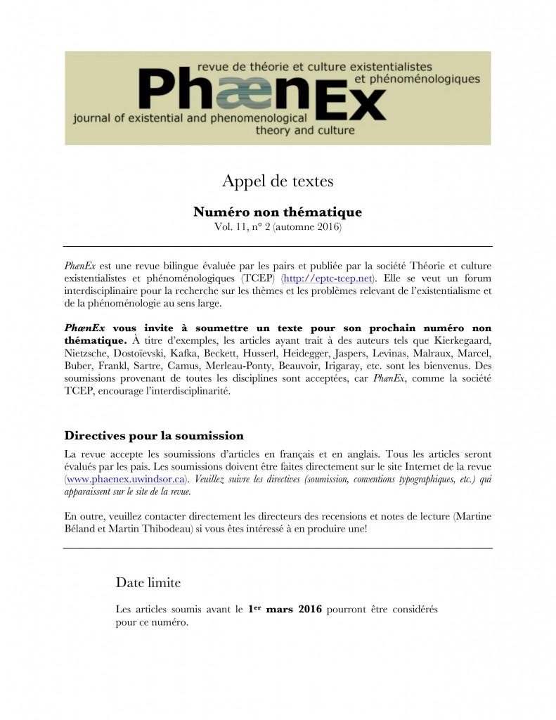 Phaenex - CFP - Open Issue 2016 11-2 Francais