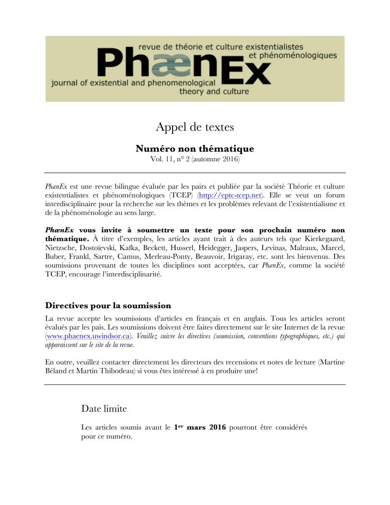 Phaenex - CFP - Open Issue 2016 11-2 Francais