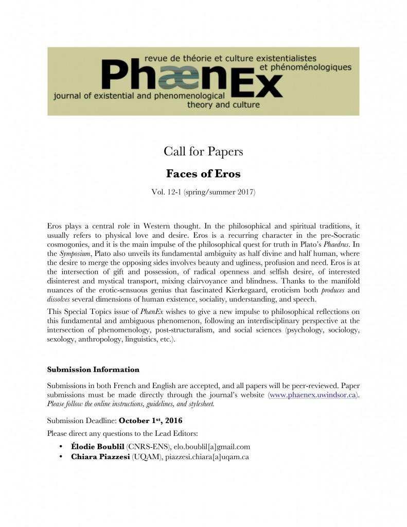 Phaenex - CFP - Special Topic EROS 2017 12-1 English
