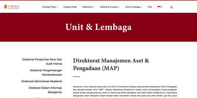 website direktora manajemen aset dan pengadaan universitas surabaya