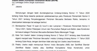 penghentian penerbitan izin usaha jasa konstruksi (iujk) di perangkat daerah yang membidangi perizinandpmptsp seluruh indonesia