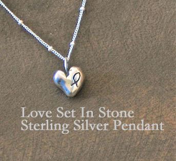 Love Set In Stone Chunky Sterling Silver Heart