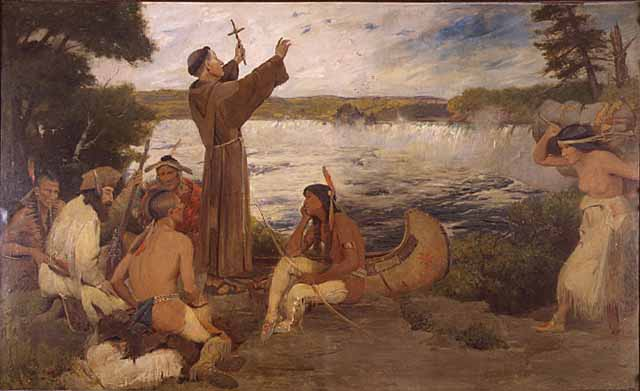 """""""Father Hennepin Discovers the Falls"""" Image from Minnesota State Historical Society"""
