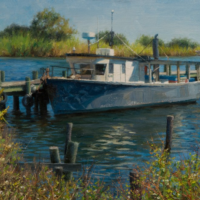 Oil painting entitled Commander's Launch, by artist Christian Hemme.