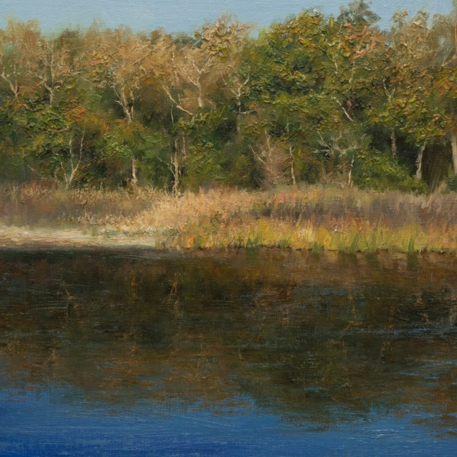 Oil painting entitled Moonrise Over the Inlet, by artist Christian Hemme.