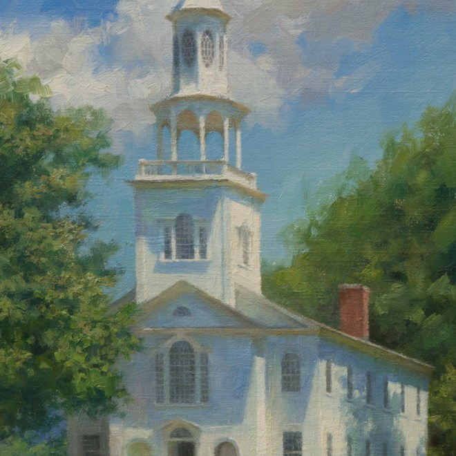 Oil painting entitled Bennington Congregational, by artist Christian Hemme.