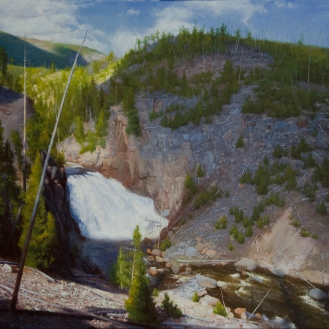 Oil painting entitled Cascaded Fragmentation at the Yellowstone, by artist Christian Hemme.