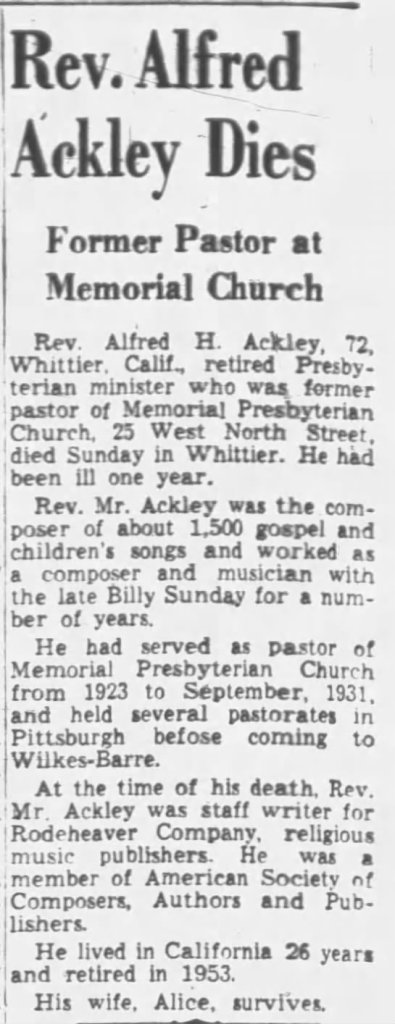Alfred Ackley Obituary