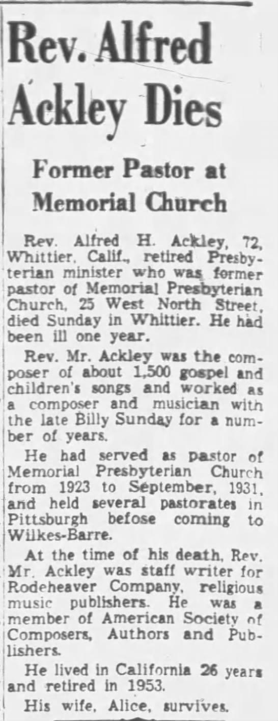 alfred ackley obituary