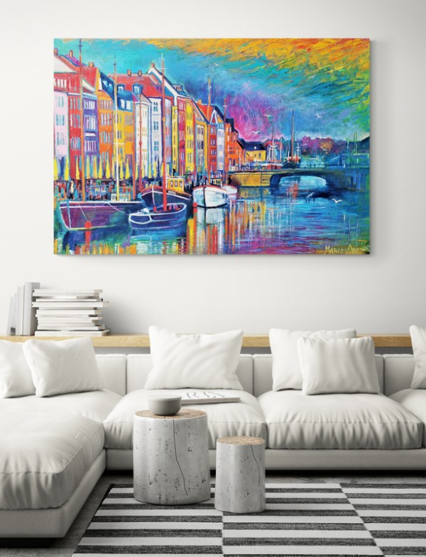 Evening Sky in Nyhavn 149X103 CM Oil on canvas By Marios Orozco
