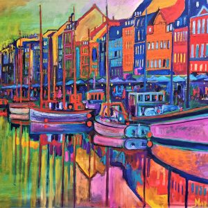 Summer Delight in Nyhavn 150X105 CM Oil on canvas By Marios Orozco, Christiania Art Gallery