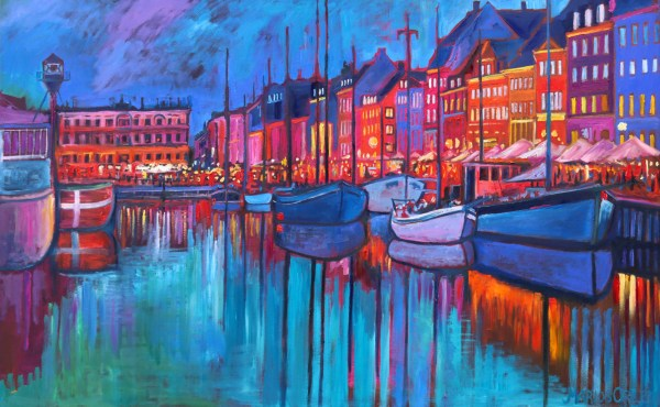 Nyhavn Love 200X125 CM Oil on canvas By Marios Orozco