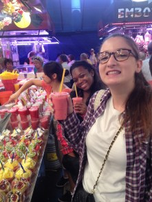 Emma and Bria at the Fruit Juice stand. We tested several fruit stands to see which had the better consistencies. I also tried pitaya for the first time in my pitaya and coconut drink. Pretty tasty!