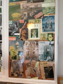 Dali kept records of his publicity on the outside of his closet doors. The walk-in closet was similar to the size of a small bedroom and each closet door was filled with pictures of him with other celebrities or him in editorials.