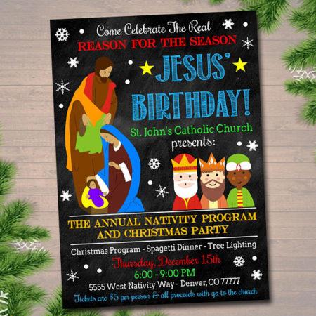 Personalized Digital Jesus Birthday party invitation