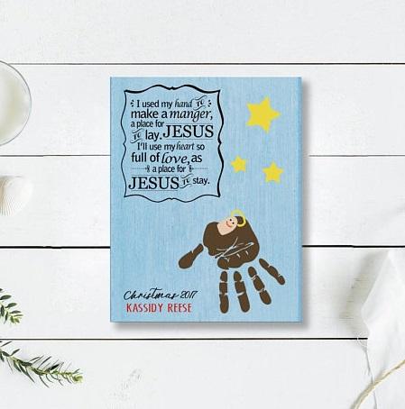 Instant download Christmas Manger handprint poem art craft